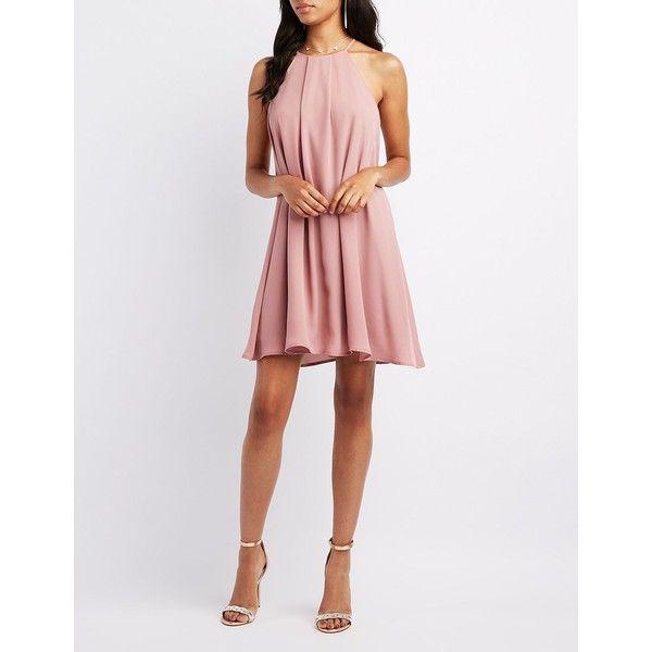 Charlotte Russe Bib Neck Shift Dress ($40) ❤ liked on Polyvore ...