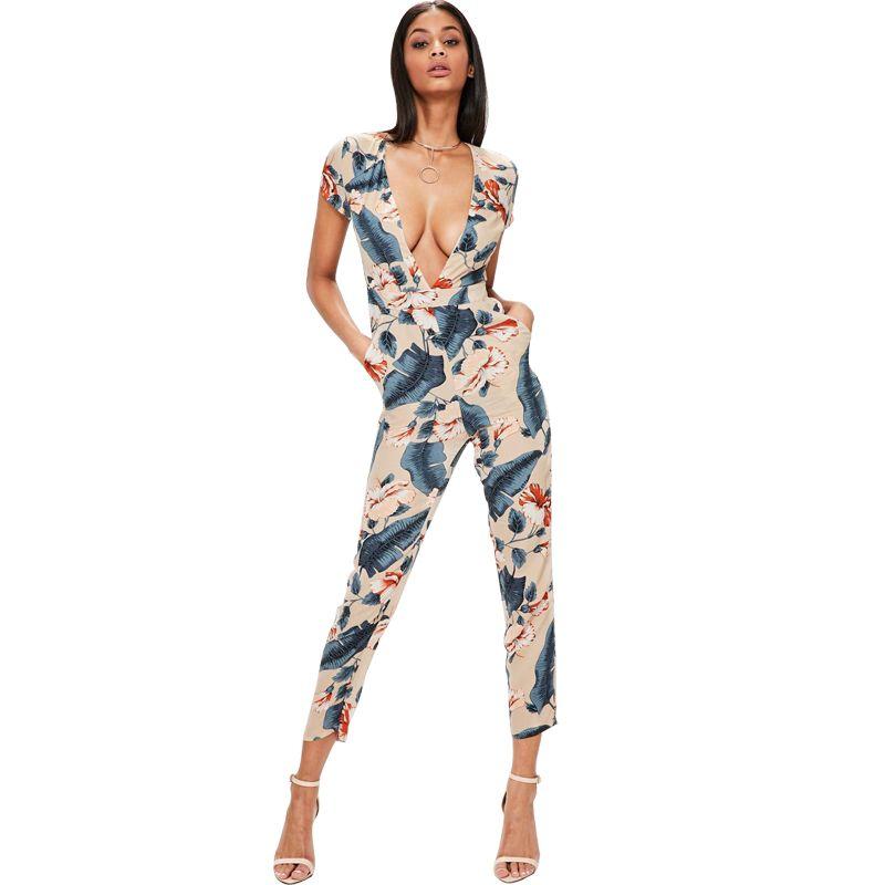 5e0b2ae3a Fashion Women Floral Print Jumpsuit Deep V-Neck Summer Bodysuit Short  Sleeve Beach Sexy Skinny