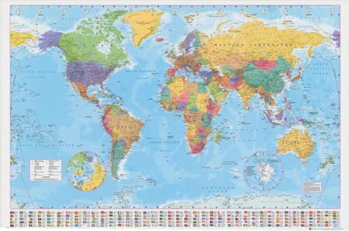 Frame map for front room diy ideas for home pinterest framed large map of the world poster 61x91cm 24x36 flags wall decor print brand new gumiabroncs Image collections