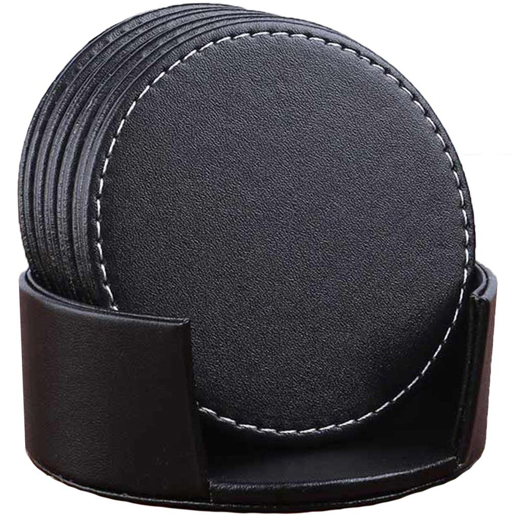 Carlway Set Of 6 Leather Drink Coasters Round Cup Mat Pad For Home And Kitchen Use Black 3 94 Quot 10cm In 2020 Kuche Schwarz Untersetzer Glasuntersetzer