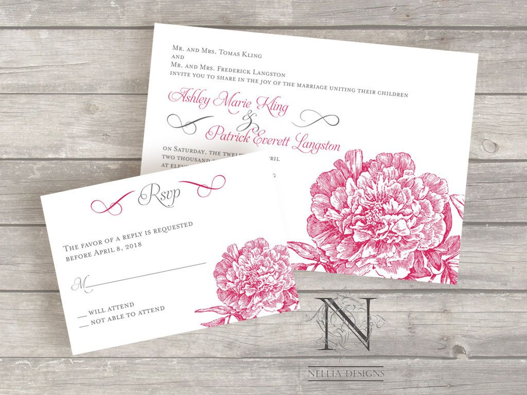 Peony flower wedding invitation set with rsvp cards by nellybean