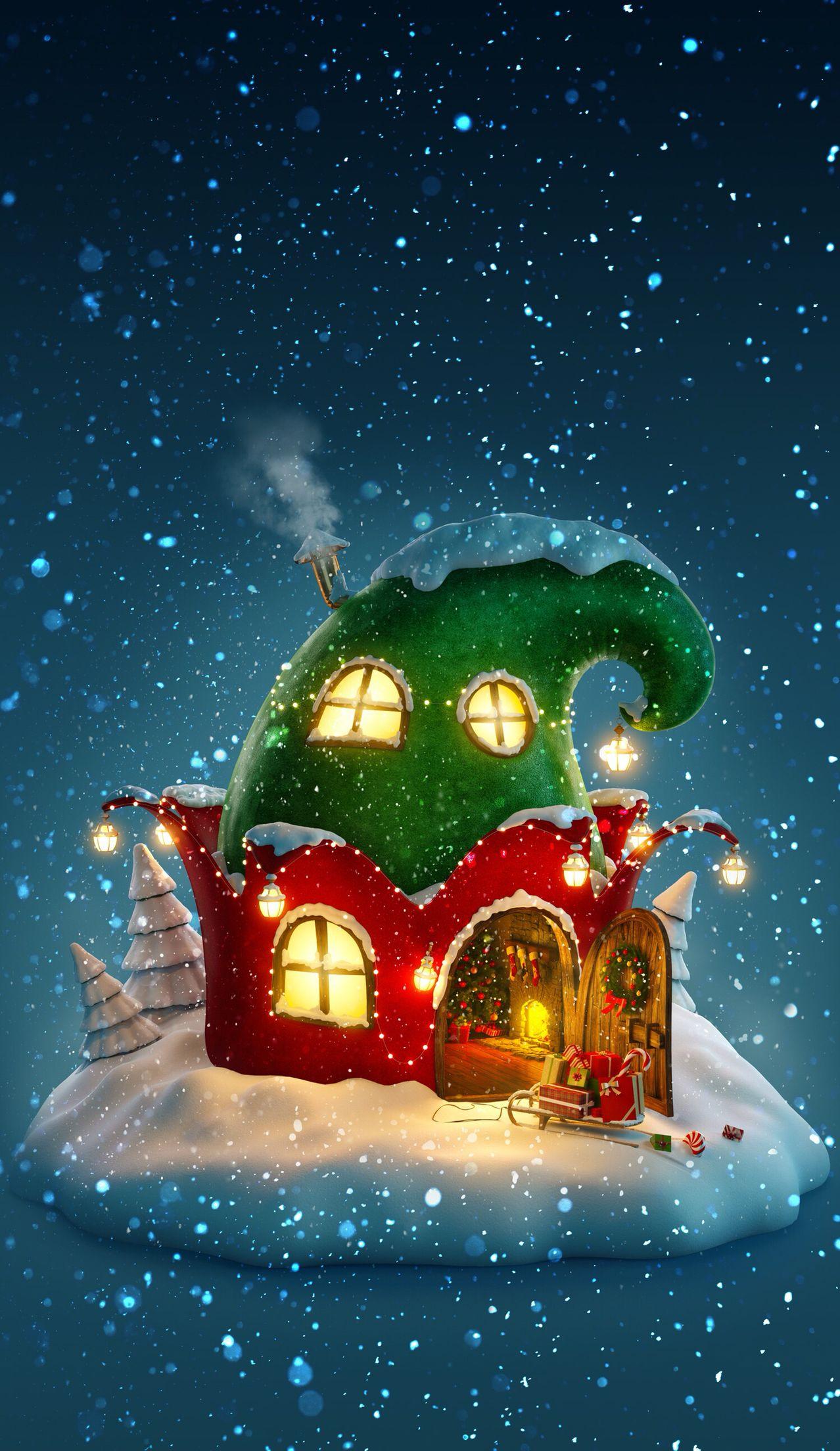 Elf House Christmas Art Christmas Illustration Christmas Wallpaper