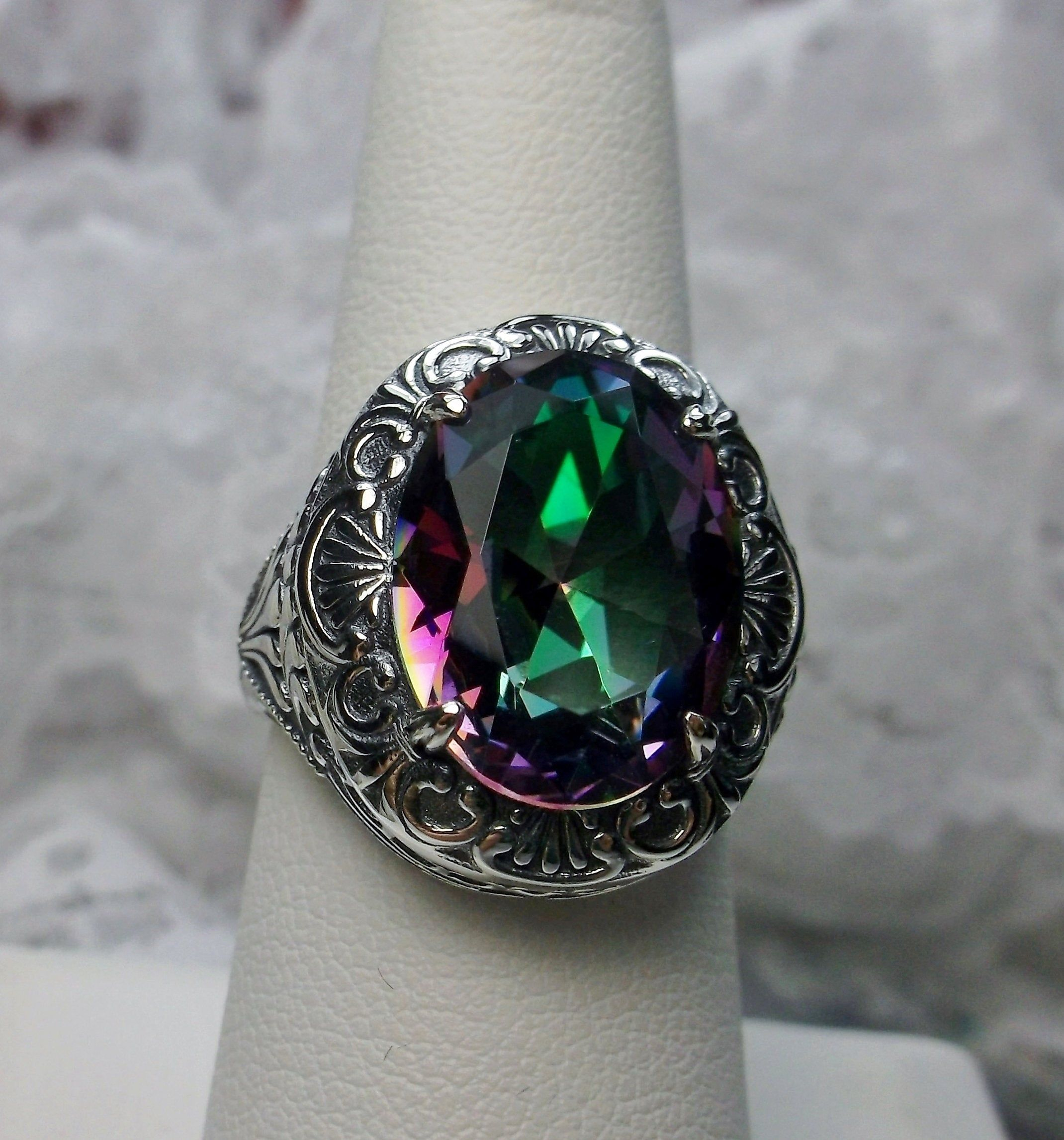 925 Solid Sterling Silver Rose Cut Diamonds Tourmaline Handmade Black Rhodium Plated Victorian Party Rings Jewelry