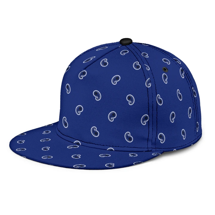 Luxury Royal Dark Blue Bandana Style Paisley Design Snapback Hat Snapback Hats Blue Paisley Paisley Design