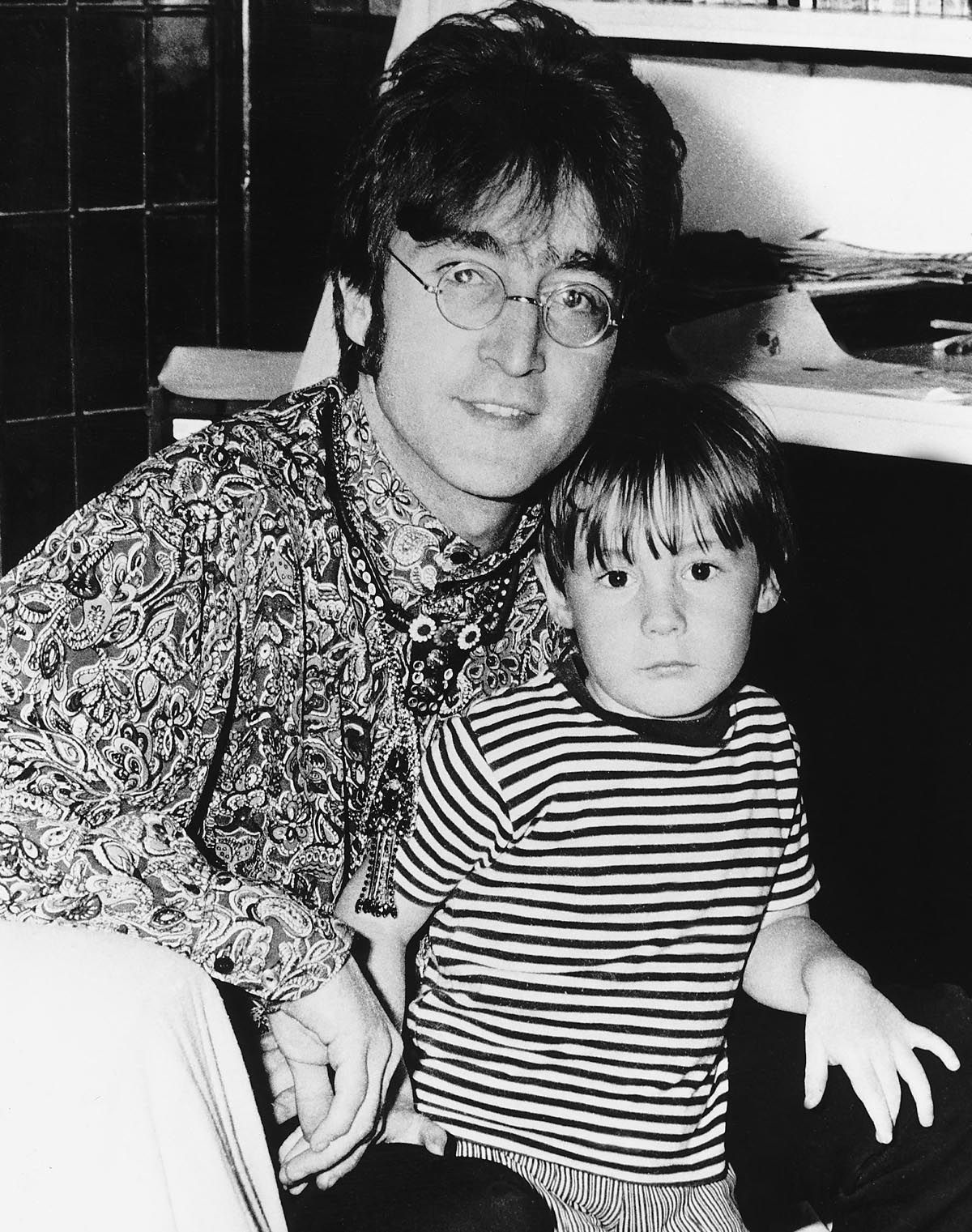 John Lennon With His Son Julian At Their Home In Weibridge 1967
