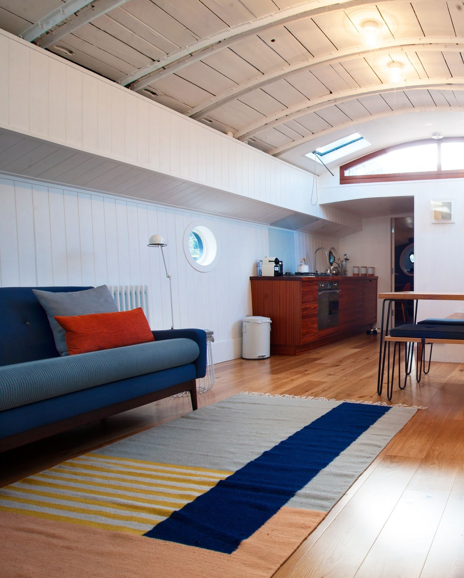 Garys recently restored 1925 houseboat in london house tour