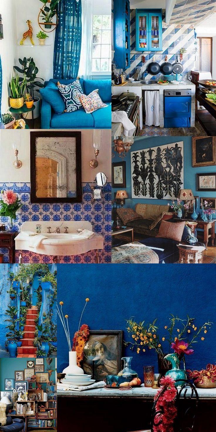 Best Beautiful Blue Bohemian Rooms … Boho Style Living Room 400 x 300
