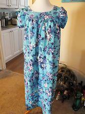 1c20c015ceb2 Vintage Blue Floral Barkcloth Hawaiian Luau Tiki Moo Moo Dress Medium  Large. Moo Moo dresses were all the thing on sleep overs.