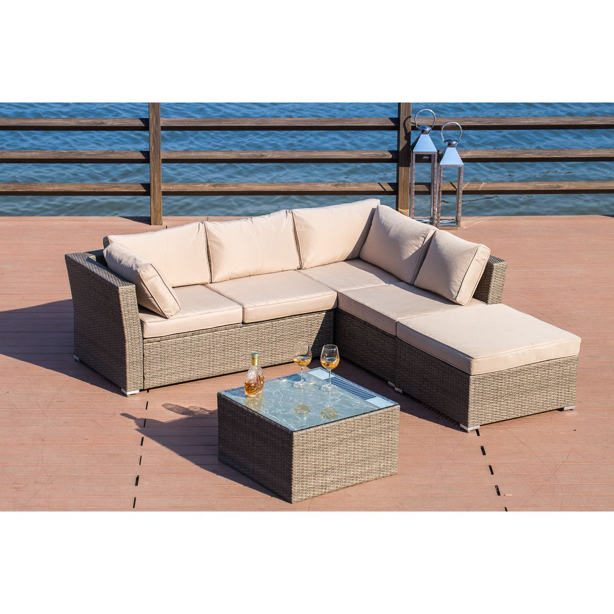 Mercury Row Amesbury Solar Light Up Luxury 4 Piece Sofa Seating Group With Cushion