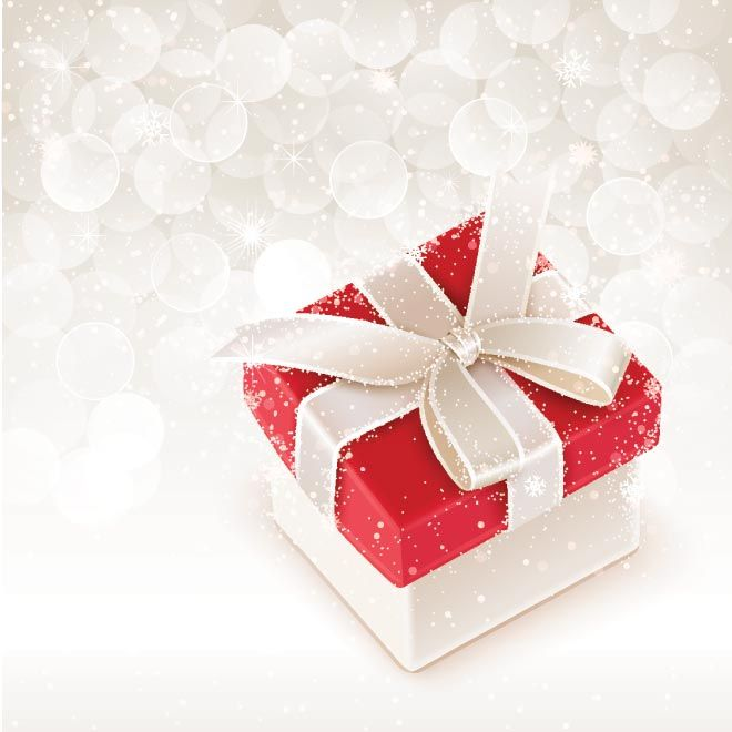 Christmas Gift Background: Free Vector Merry Christmas Gift Box With Ribbon Bow On