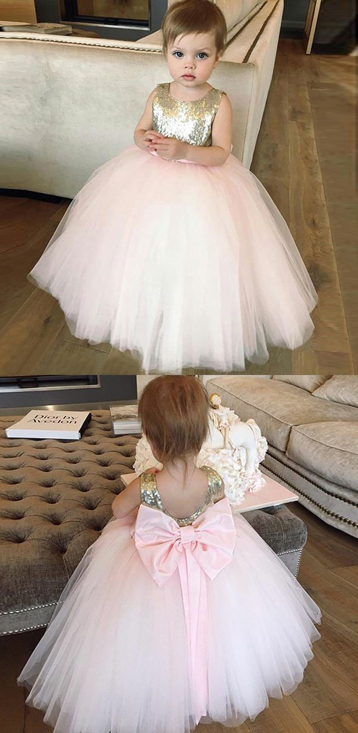 Ball Gown Bateau Pink Tulle Flower Girl Dress With Bowknot Sequins
