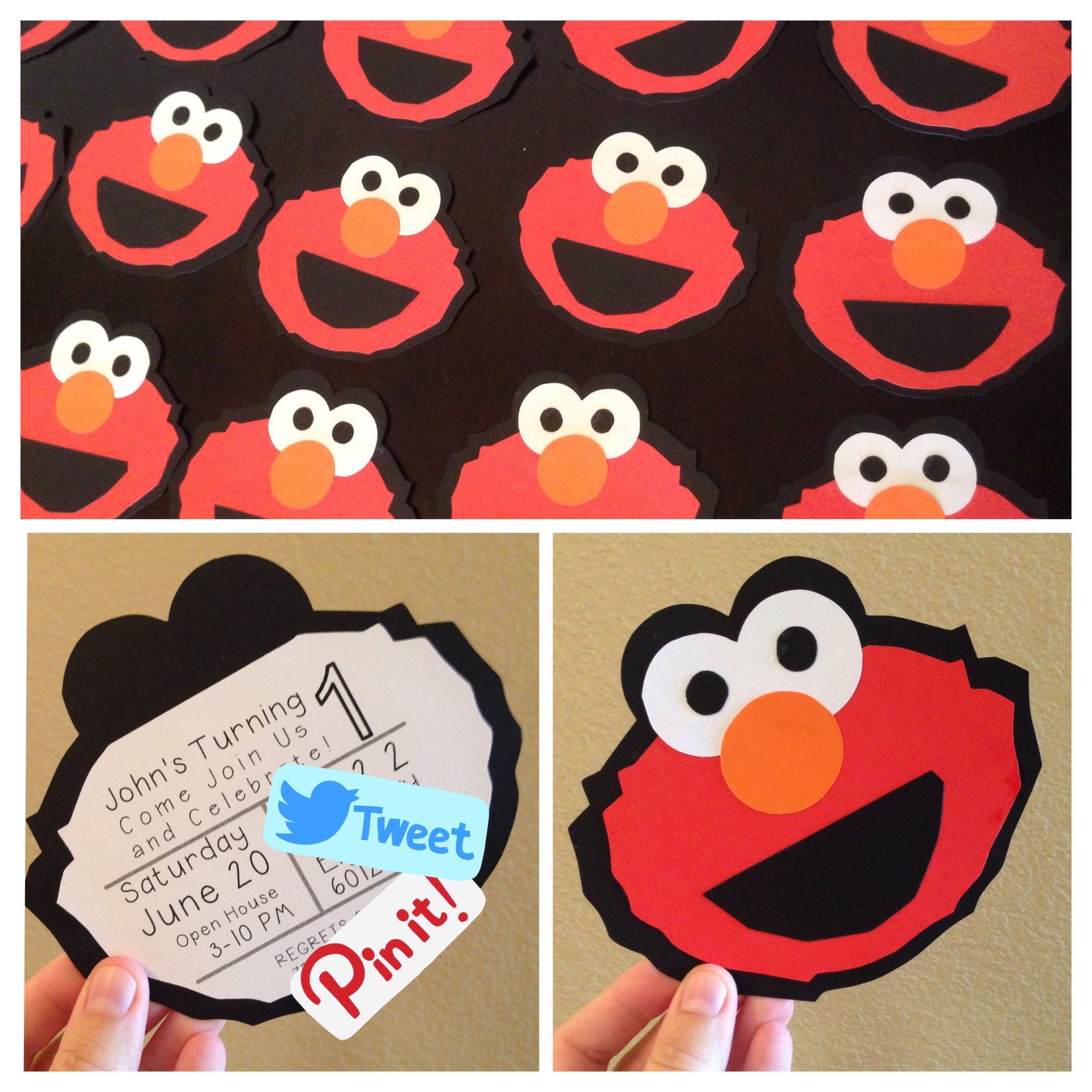 Homemade DIY Elmo Birthday Invitations Silhouette Cameo I have all – Homemade Elmo Birthday Invitations