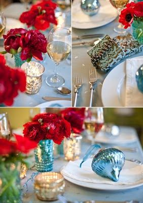 Example of red and Christmas blue colors together for the table ...