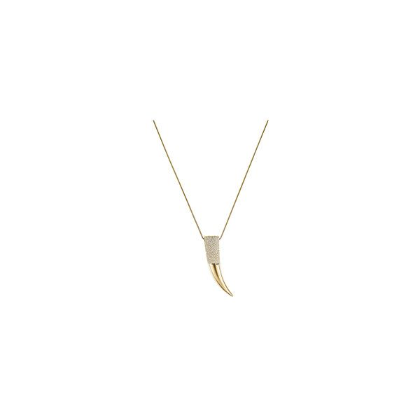 Michael Kors Pavé Gold-Tone Horn Pendant Necklace ($195) ❤ liked on Polyvore featuring jewelry, necklaces, chain necklace, pave pendant necklace, chain jewelry, horn chain necklace and pendant chain necklace