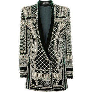 180fdd96 Balmain Crystal And Faux Pearl Embellished Velvet Blazer - Emmanuelle Alt's  Closet - I Want To Be An Alt