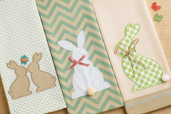 Easter Embroidered Embellished Kitchen Towels Design Imports
