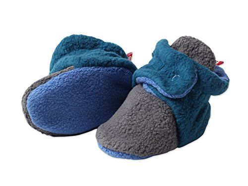 Zutano  Cozie Fleece Color Block Bootie  GrayPagoda Periwinkle  Size 3 month >>> Click image for more details.