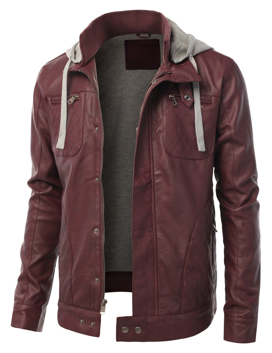 Dressforless Men S Faux Leather Jacket With Quilted Pattern Burgundy S Fpf 30 Faux Leather Jacket Men Mens Outfits Leather Outerwear [ 1500 x 1154 Pixel ]