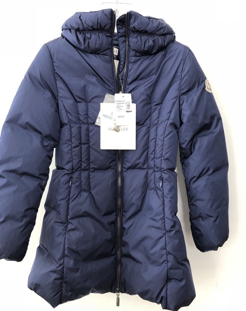 MONCLER JUNIOR GIRLS COAT W Detachable Hood Size 8 Navy