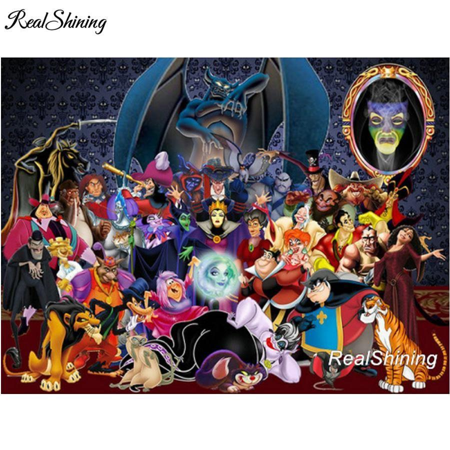 5d Diamond Painting Disney Villains Disney Villains Cartoon Art