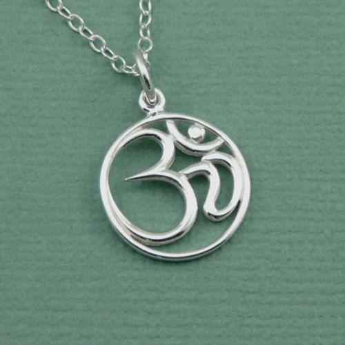 Om necklace sterling silver om jewelry ohm necklace yoga jewelry script om necklace sterling silver om jewelry om pendant charm zen gift aloadofball Images
