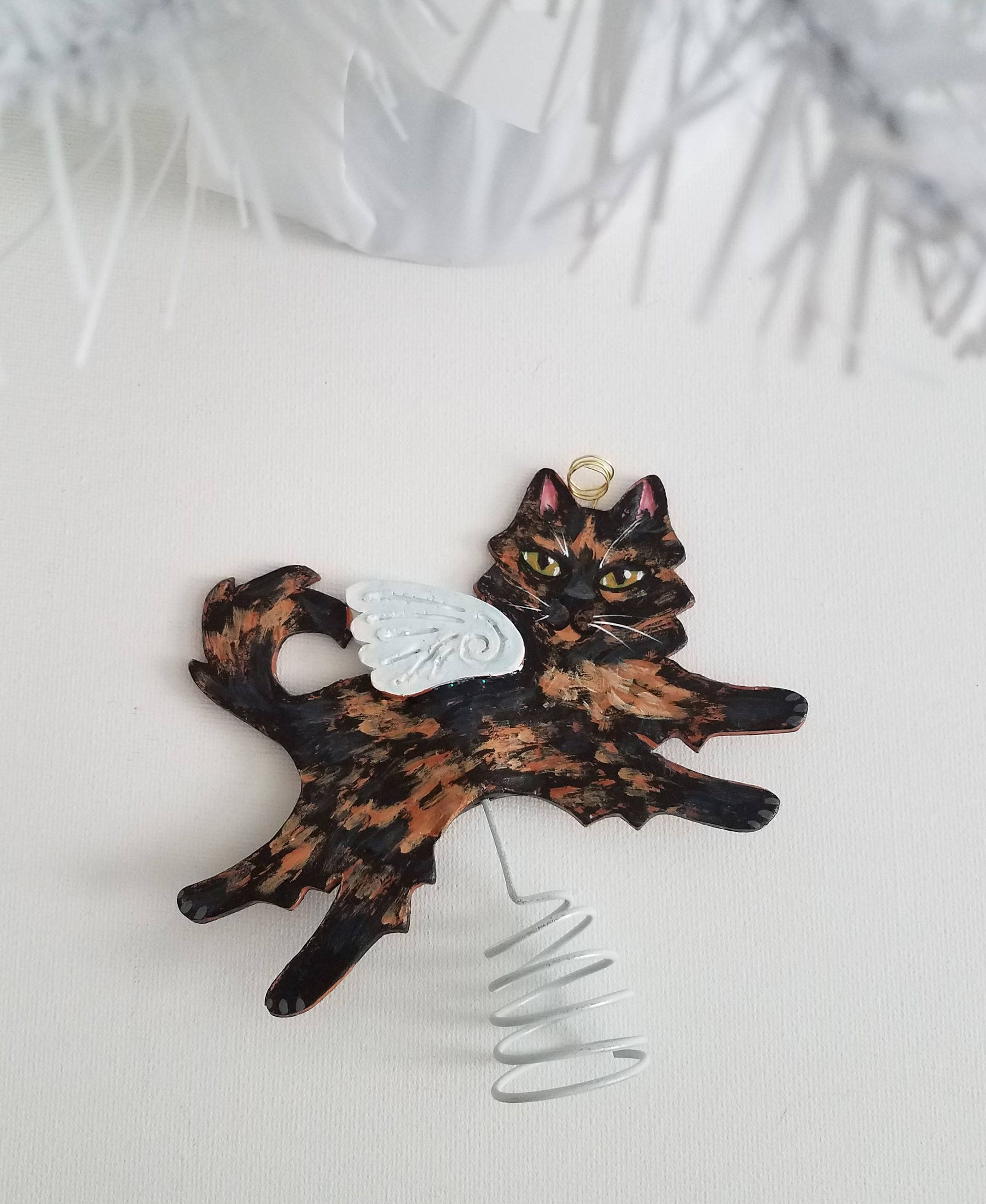 Cat Angel Christmas Tree Topper: Tortoiseshell Cat