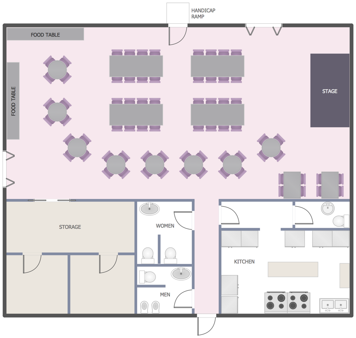 Function Hall Floor Plan This Example Was Created In Conceptdraw Pro Using The Libraries From The Restaurant Floor Plan Restaurant Plan Restaurant Flooring