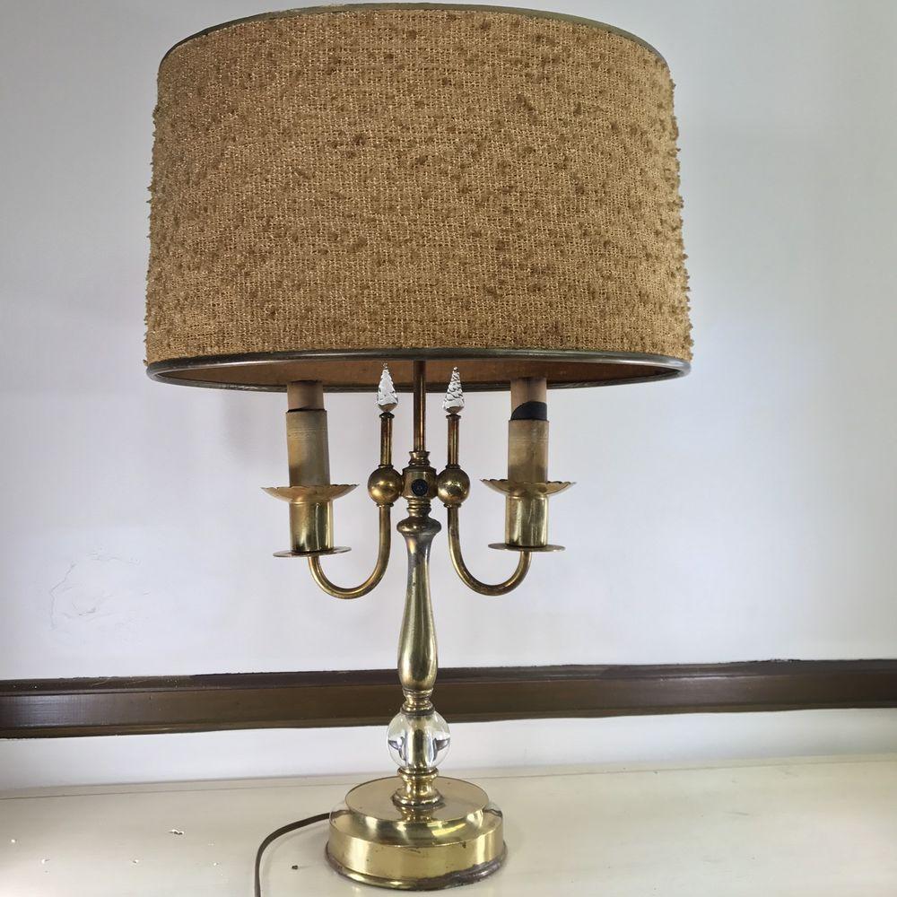 Details About Vintage Rembrandt ART DECO/MCM Brass U0026 Glass 2 Light Table  Lamp U0026 Original Shade