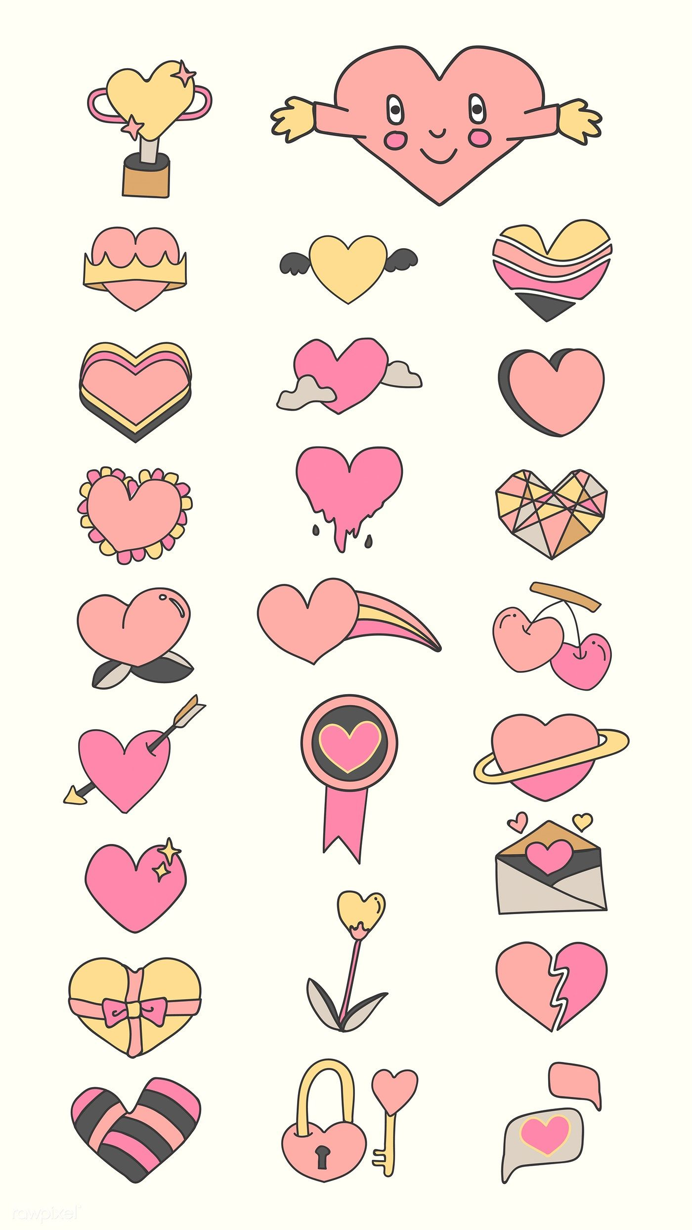 Pink heart design collection vector free image by