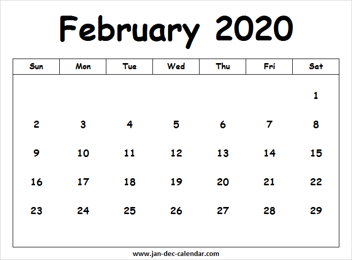 February 2020 Printable Calendar Cute.February Calendar 2020 With Designs January December Calendar