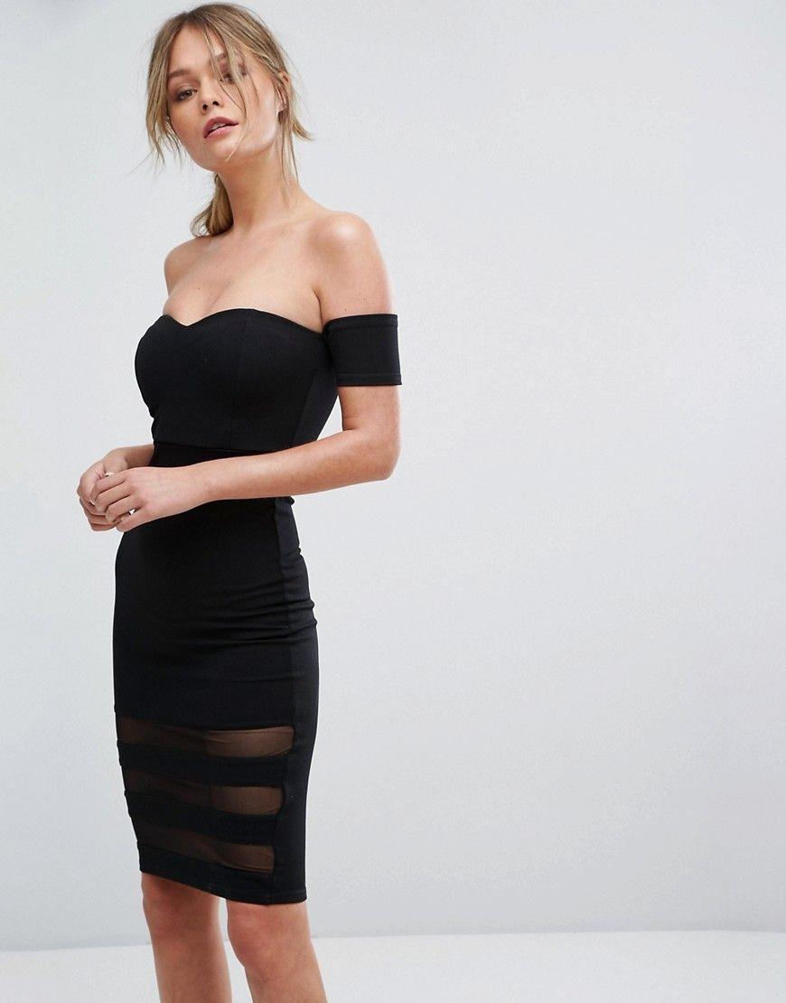 New look mesh insert bardot bodycon dress black products