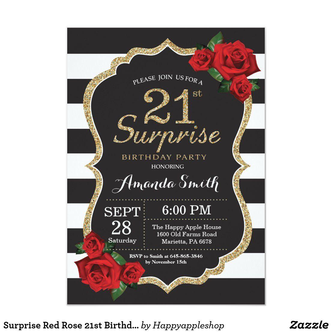 Surprise Red Rose 21st Birthday Invitation Gold Zazzle