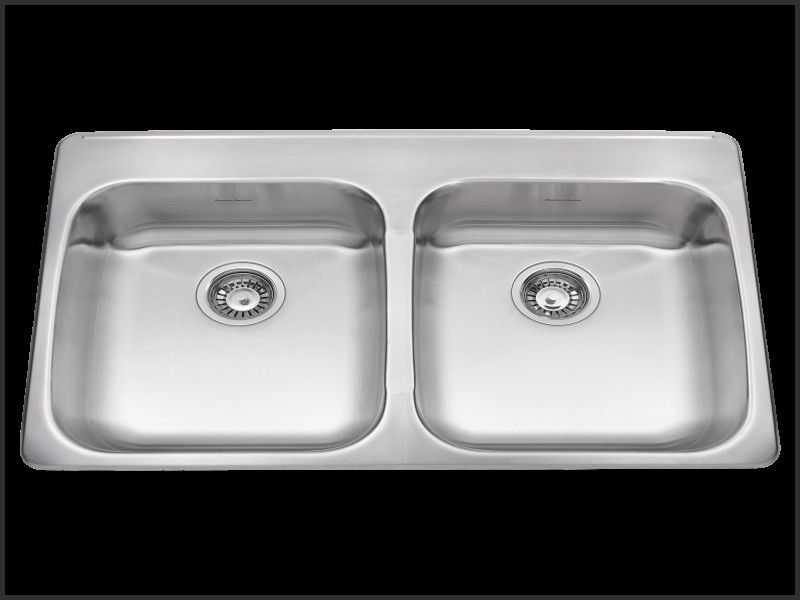 Lovely American Standard Double Basin Stainless Steel Topmount Kitchen Sink With Faucet