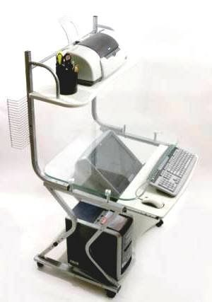 Down View Glass Top Computer Desk 32 Wide W Printer Shelf By Cuzzi Desks Lcd Mounts 233 00 This Is A Unique Desk Unique Desks Printer Shelf Top Computer