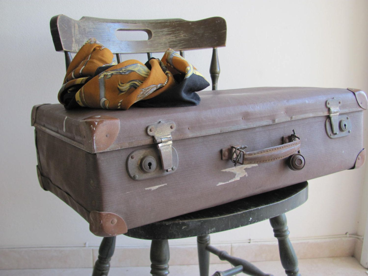 Antique Old Vintage Suitcase Luggage 1930 S Brown Travel Decor Travel Bag Retro Home Decor