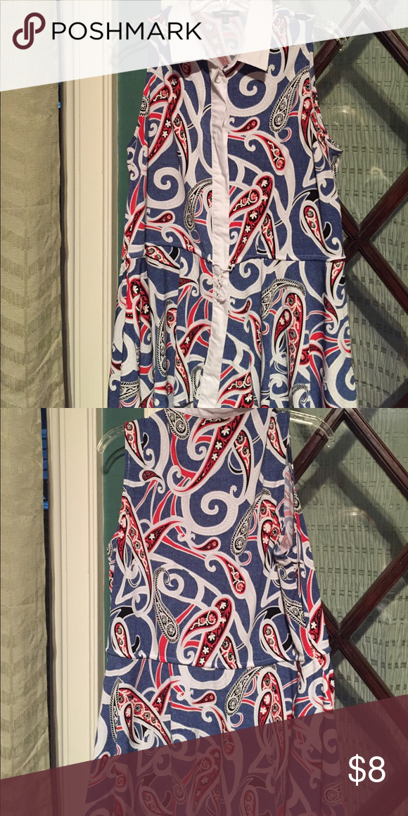 Blue/white/red paisley print button up top Blue/white/red paisley print button up top with tie waist Tops Blouses