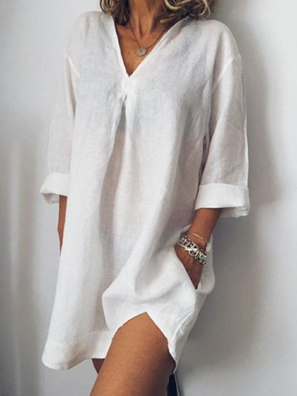 Long Sleeve V Neck Skirts Plus Size Mini Dresses Simple Mini Dress Long Sleeve Shift Dress [ 1333 x 1000 Pixel ]