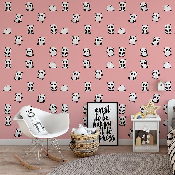 pink panda removable wallpaper / cute self adhesive wallpaper / kids