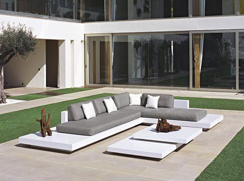 Table basse   contemporaine   en fibre de verre   de jardin PLATFORM - peindre une terrasse en beton