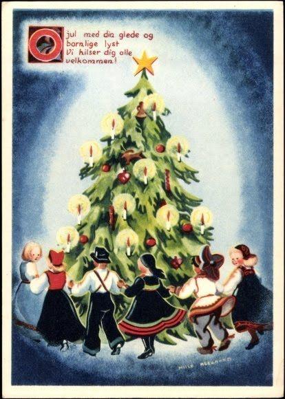 Vintage Christmas postcards by  the Norwegian artist M. Heegaard.  Synge og danse rundt vår jule tre