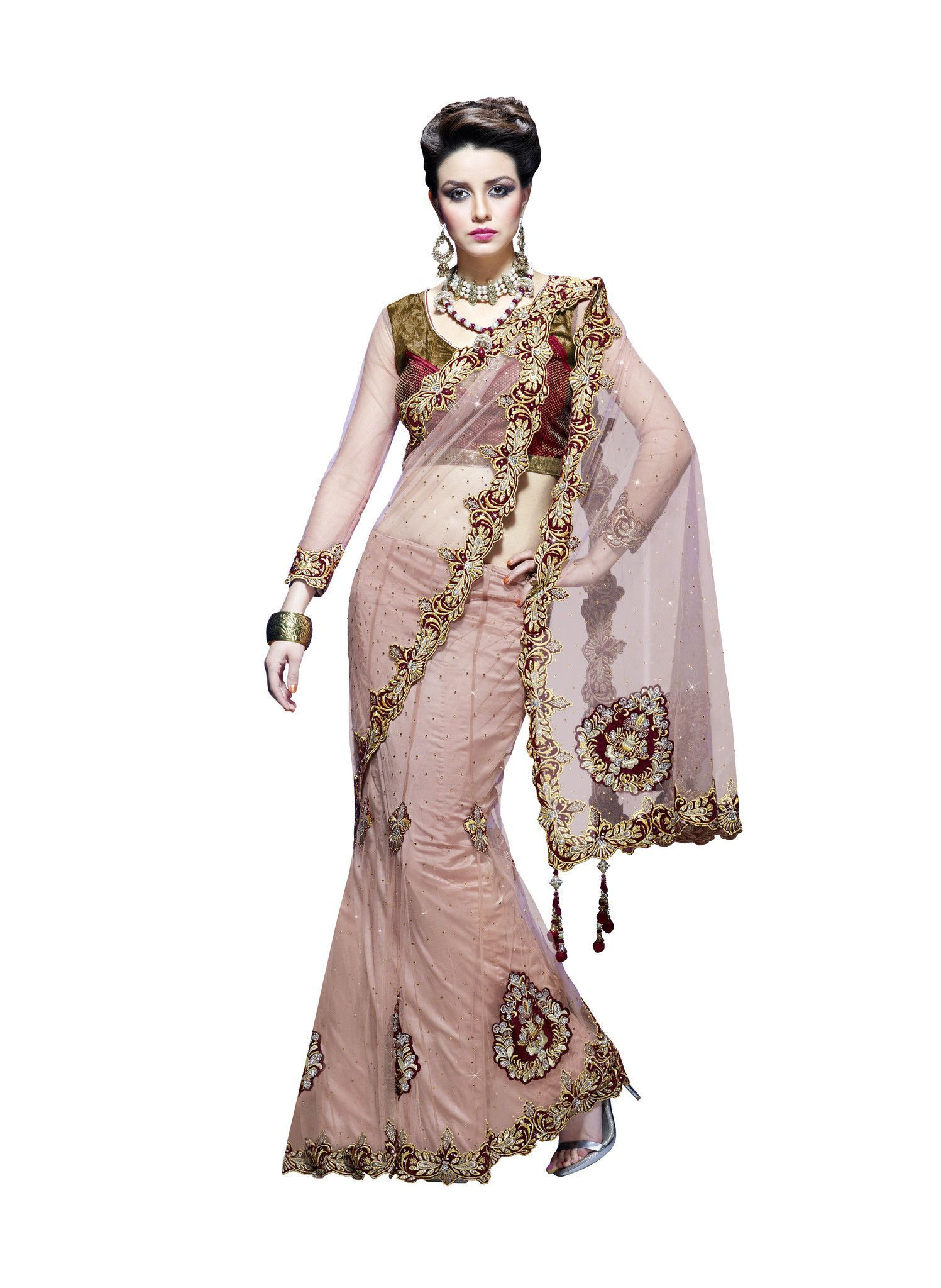 Silk saree lehenga peach party wear lehenga saree  products  pinterest  peach party