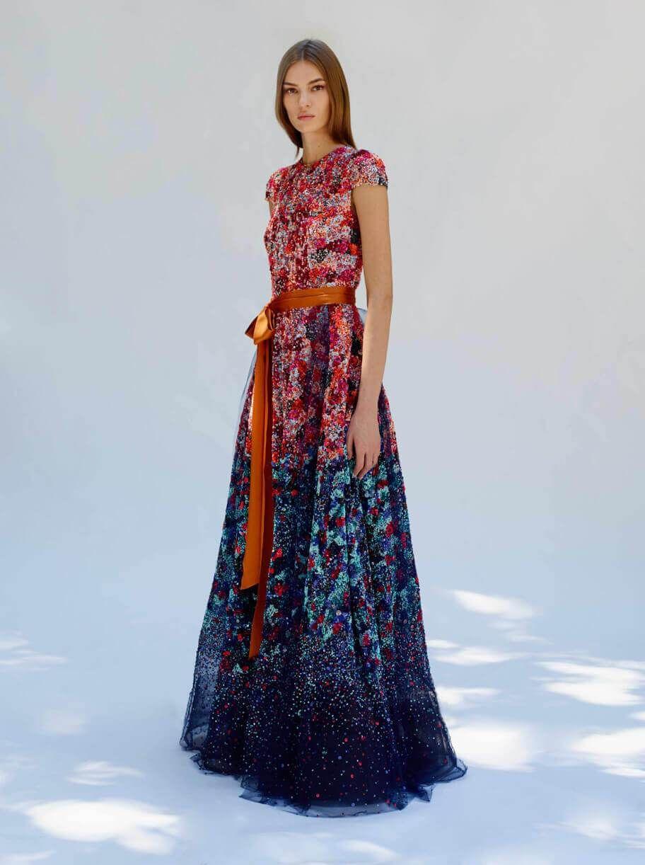 Floral evening maxi dress by reem acra
