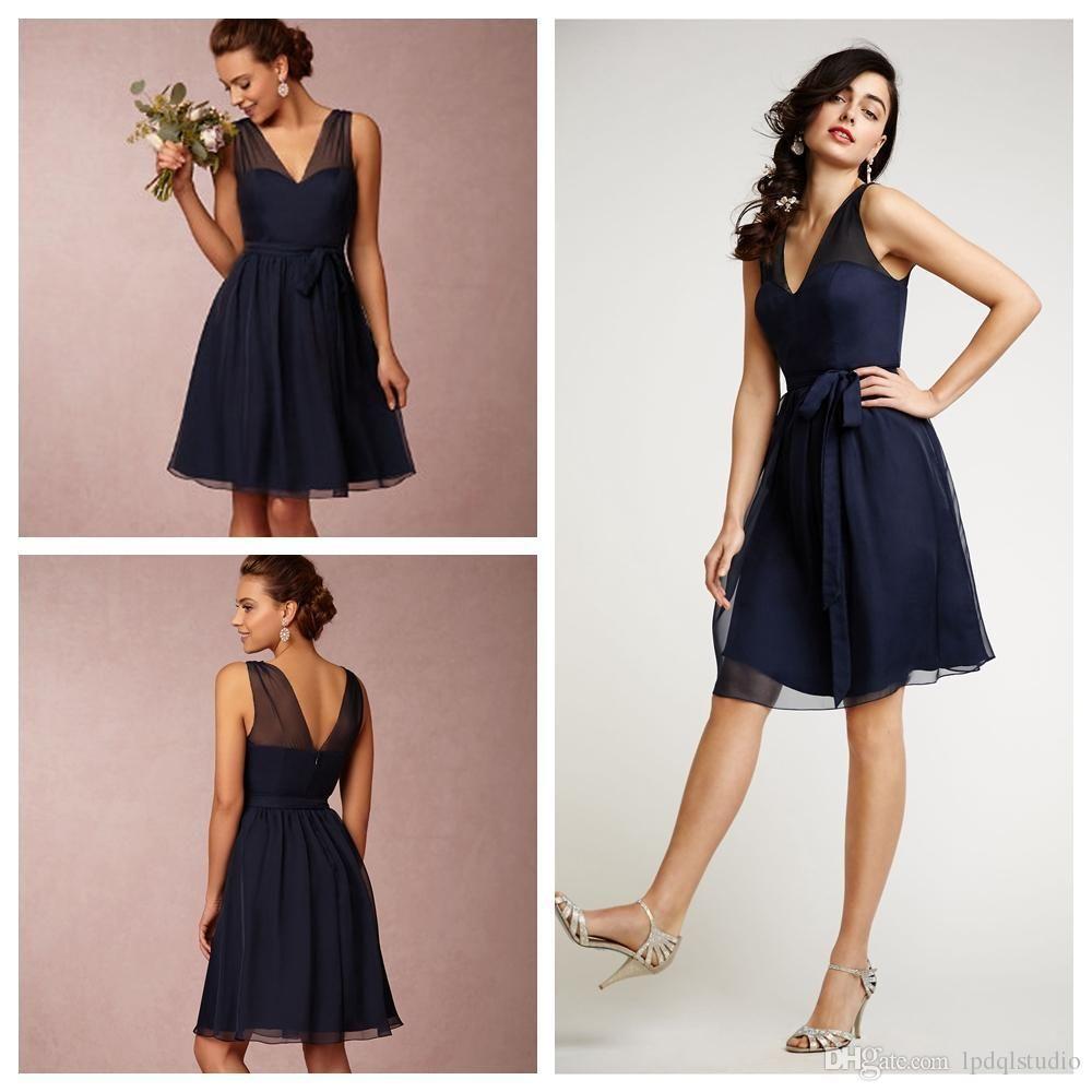 Kneelength dark navy bridesmaid dresses vneck zipper back party
