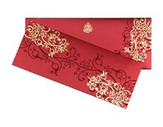 Wedding Card In Vibrant Red And Golden Colour Designer Wedding