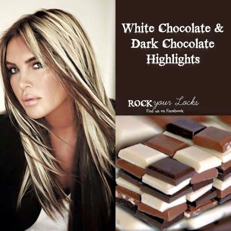 White chocolate an dark chocolate highlights