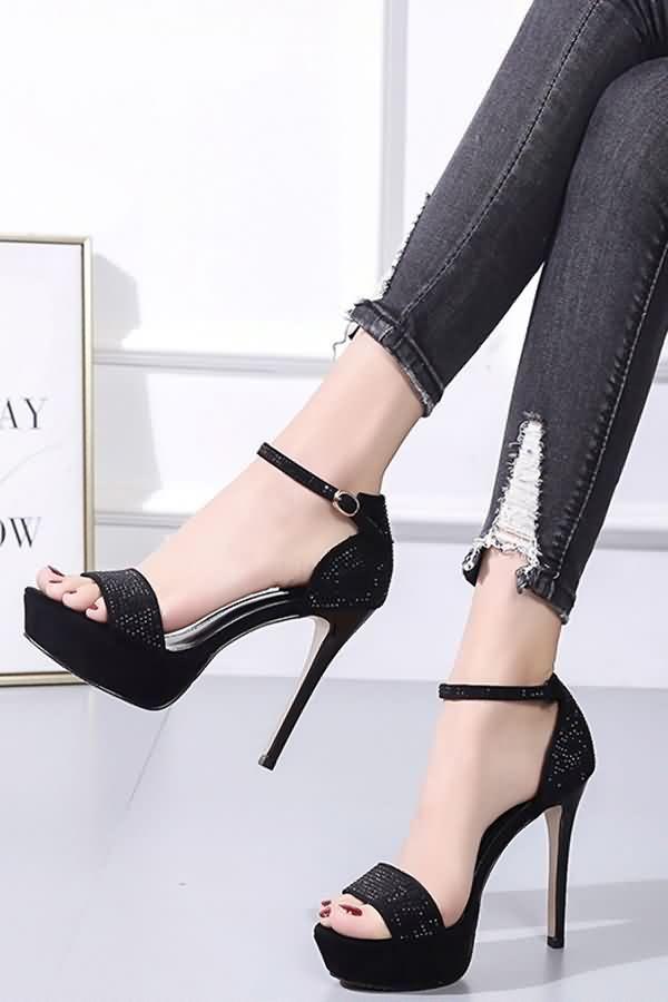 ad2f96a70a Women Black Rhinestone Ankle Strap Open Toe Stiletto High Heel ...