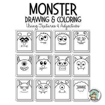 Monster Adjectives: Fun Drawing & Texture Art Lesson in