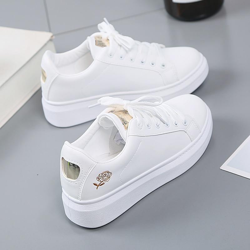 trendy womens white sneakers