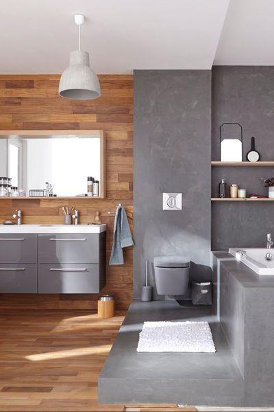 Dans cette salle de bains  peinture Décorative, Loft Béton ciré les - peindre du carrelage de sol