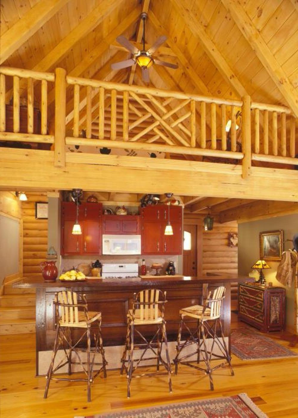 Rustic Kitchen Design With Mini Bar Under Mezzanine Of Rustic ...